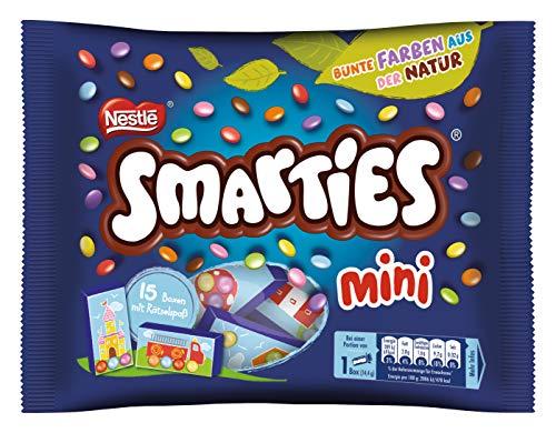 Nestlé Smarties mini, bunte Schokolinsen, ideal für Kindergeburtstage, ohne künstliche Farbstoffe, kleine Packung für großen Spielspaß, 1er (1 x 216g)