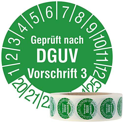 Labelident Mehrjahresprüfplakette 2020-2025 - Geprüft nach DGUV Vorschrift 3 - Ø 30 mm, 1000 widerstandsfähige Prüfplaketten auf Rolle, Vinyl, grün, selbstklebend