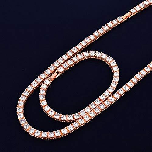 GYXYZB 1 Rij 5mm Tennis Ketting & Armband Set Goud Zilver Strass Chain Choker Mannen Sieraden 16