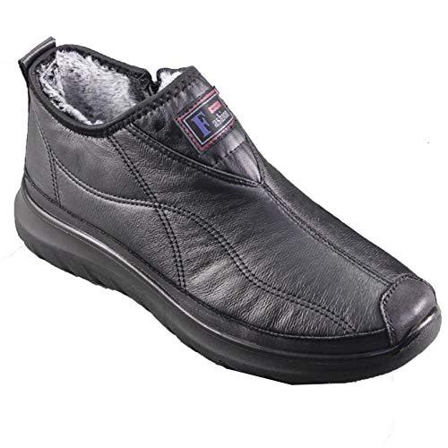 Zapatos de Cuero para Hombre, Punta Alta y Redonda, Botas Casuales de Estilo Simple Gris, Mocasines de Invierno de Felpa cálidos Resistentes al Desgaste