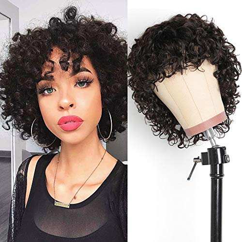 Deep Curly Human Hair Wigs for Women, 8 inch Wet and Wavy Water Wave Bob Wig None Lace Front Full Machine Made Wigs with Bangs Natural Color