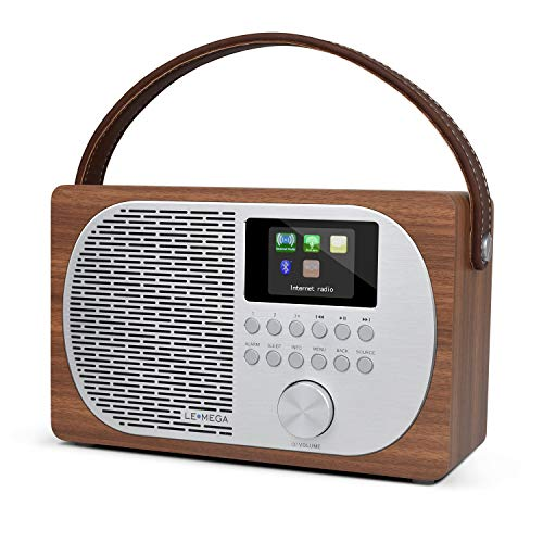LEMEGA M2P WiFi Smart Radio,Internet Radio,FM Digital Radio,Wireless Bluetooth,Rechargeable Battery,Headphone- Out,AUX-in,Alarms,Clock,40 Stations Presets,Colour Display,App Control - Walnut