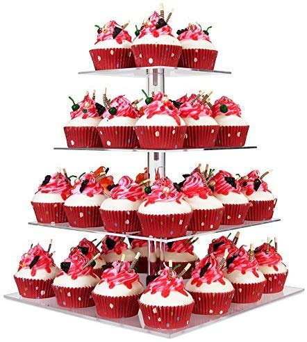 YestBuy 4 Tier Clear Wedding Party Acrylic Cupcake Display Tree Tower Stand 1 Unit (4 Tier Square)
