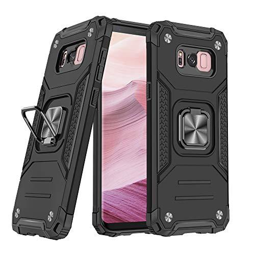 DASFOND Cover Compatibile con Samsung Galaxy S8 Plus/S8+ (2017) 6.2'',Grado Militare Test di Caduta da 15 Piedi,Cavalletto Rotante a 360 °Piastra Metallica Magnetica per Supporto da Auto,Nero