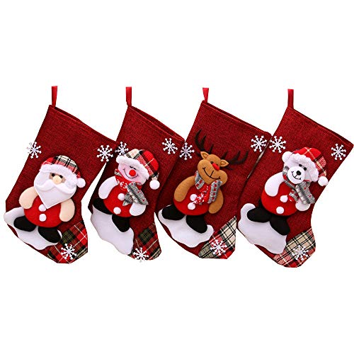 WGIA Christmas Stockings, Set of 4 Santa Snowman Reindeer Bear Gift Socks Hanging Christmas Tree Decoration Xmas Candy Bags Ornament for Home Party Fireplace Decor