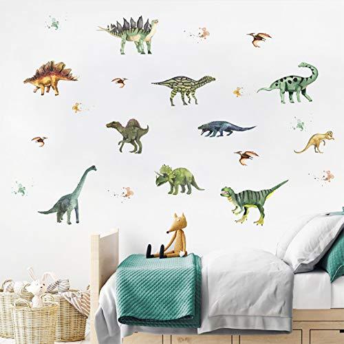 14 Stück Dinosaurier Wandtattoo, HOLENGS/ZONITOK Abnehmbare DIY Cartoon Dinosaurier Wandaufkleber, Wandsticker Wanddeko für Schlafzimmer Wohnzimmer Klassenzimmer Büro Kinderzimmer Home Wanddekoration