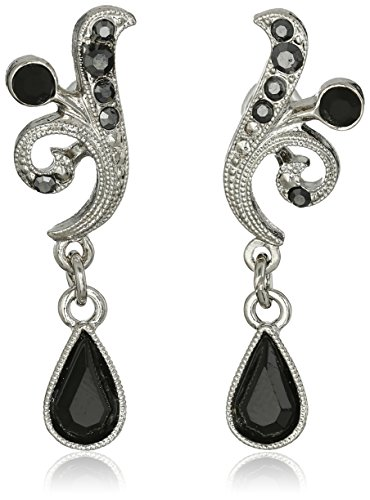 1928 Jewelry Silver-Tone Black and Hematite Color Crystal Vine Drop Earrings