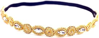 AKOAK Fashion Retro Style Handmade Crystal Rhinestone Beads Elastic Headband Hair Band Women Girls Hair Jewelry Accessories,#3