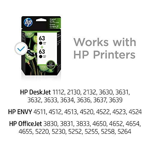 HP 63 | 2 Ink Cartridges | Black | F6U62AN