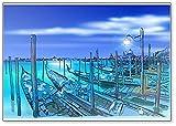 Venecia Quay Piazza San Marco. Góndolas en el agua dibujada a mano - Imán clásico para nevera