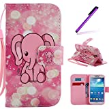 S4 Case,Galaxy i9500 Case LEECOCO Fancy Paint Floral Design Case [Credit Cards Slot] [Cash Pockets] PU Leather Flip Wallet Case with Stand for Samsung Galaxy S4 I9500,Pink Elephant