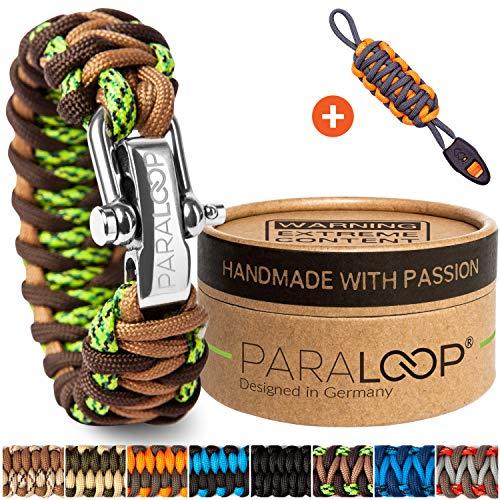 PARALOOP Deluxe Exklusives Paracord Armband für Männer + Schlüsselanhänger mit Signalpfeife in Handarbeit geflochten mit Geschenkbox Verschluss aus Edelstahl Männerarmband Grün Camo Braun