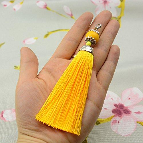 Makhry 10 stks 4.5 Inch Handgemaakte Zijdeachtige Floss Karabijn Kwastje Sleutelhanger Kralen Bladwijzer Kwastje Hanger voor DIY Craft Sieraden Vrouwen Oorbel (Goud, Kort)