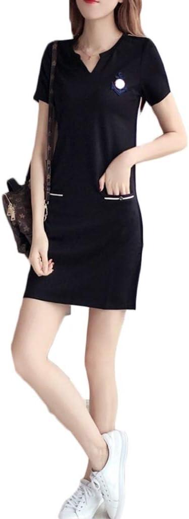 Dongjiguang Dress Dress Summer Large Size Women's Long Short Sleeve Sports Skirt 2 Colors 7 Sizes (Color : B, Size : M)