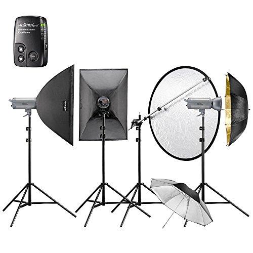 Walimex Pro Studioset VC-400/400/300 Excellence (2x Blitz 400Ws, 1x 300Ws, Lampenstative, Softbox 60 x 90 cm)