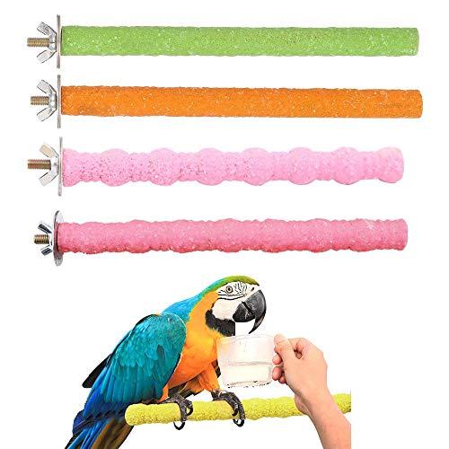 4 Piezas Perca de Pájaro, Percha para Pájaro Soporte de Madera, Perchas de Loro, para Colgar Jaula de Pájaro Loros Periquitos Cacatúas