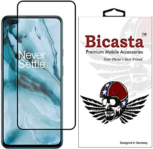 Bicasta Tempered Glass Screen Guard Gorilla Protector for OnePlus Nord with Easy Installation Kit Edge to Edge Full Screen Coverage 11D Original Temper Black Pack of 1