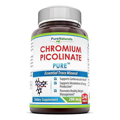Pure Naturals Chromium Picolinate Supplement – 200 mcg - 240 Tabletsper Bottle- Supports Cardiovascular Health*, Supports Metabolism & Energy Production* & Promotes Healthy Weight Management*