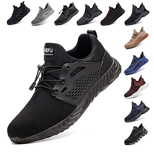 Zapatos De Seguridad para Hombre con Puntera De Acero Mujer Calzado De Trabajo Zapatos De Deportivos Transpirables Construcción Botas Trekking Negro Azul Gris Verde Rosa 36-48 EU