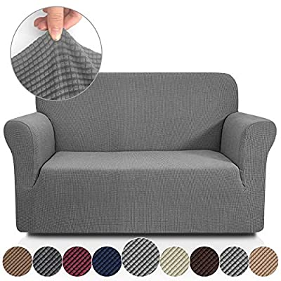 Rose Home Fashion RHF Jacquard-Stretch Loveseat Slipcover Slipcovers for Couches and Loveseats, Loveseat Cover&Couch Cover for Dogs, 1-Piece Sofa Protector(Loveseat:Gray)