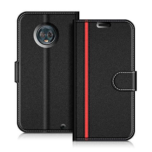 COODIO Handyhülle für Motorola Moto G6 Plus Handy Hülle, Motorola Moto G6 Plus Hülle Leder Handytasche für Motorola Moto G6 Plus Klapphülle Tasche, Schwarz/Rot