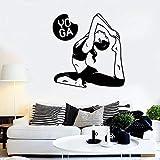 WERWN Yoga Tatuajes de Pared Pose Mujer Fitness Ejercicio Culturismo Fitness decoración de Interiores Vinilo Ventana Pegatina Pose Arte Mural