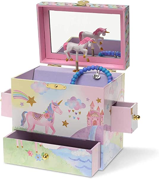 珠宝店主音乐首饰盒 3 个抽屉彩虹独角兽设计独角兽调