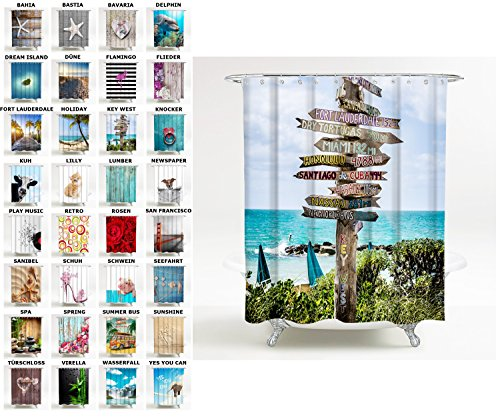 Sanilo Duschvorhang, viele schöne Duschvorhänge zur Auswahl, hochwertige Qualität, inkl. 12 Ringe, wasserdicht, Anti-Schimmel-Effekt (180 x 180 cm, Key West)