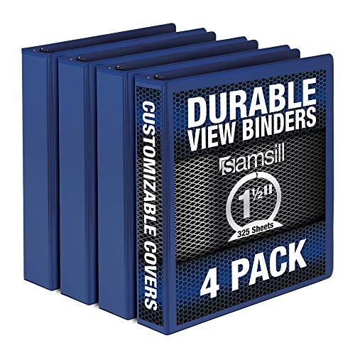 Samsill Durable 1.5 Inch Binder / Blue Round Ring Binder / Customizable Clear View Binder / Bulk Binder 4 Pack / 3 Ring Binder / 1.5 inch Binder