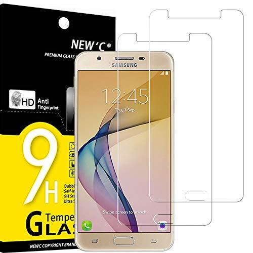 NEW'C 2 Stück, Schutzfolie Kompatibel mit Samsung Galaxy J7 Prime panzerglasfolie, Frei von Kratzern, 9H Härte, HD Displayschutzfolie, 0.33mm Ultra-klar, Ultrabeständig