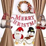 4 Corbatas de Hebilla de Cortina de Navidad Corbata de Cortina de Muñeco de Nieve de Papá Noel Hebilla de Sujetador de Soporte de Cortina Topper de Botella de Vino con Abrazadera