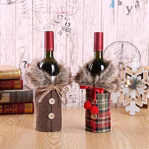 SONGHJ Juego De Botellas De Vino, Bolsa De Botella De Vino En Forma De Árbol De Navidad, Utilizado para Botellas, Envoltura De Regalos, Fiesta, Vacaciones, Decoración De Mesa, Cumpleaños, 2 Piezas