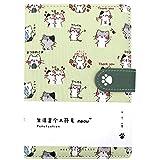 CLARA Cute Cat Notebook Japanese Sketchbook PU Leather Cover Diary Travel Notebook (04714light green)