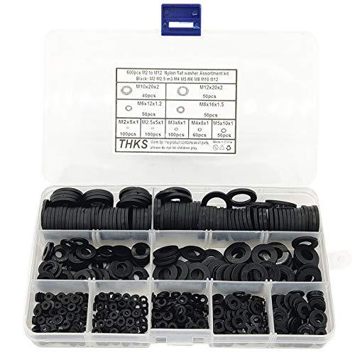 Domilay 600 StüCke Schwarz Nylon Gummi Unterlegscheibe Sortiment Kit für M2 M2,5 M3 M4 M5 M6 M8 M10 M12 Plain Reparatur Washer M?Bel Dichtung Kit