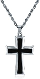 M MOOHAM Cross Necklace for Men, Silver Black Gold Stainless Steel Cross Pendant Necklace for Men 20 22 24 Rope Inch