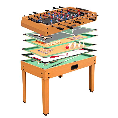 Automaten Hoffmann Tischkicker Multistar Junior | 9 in 1 Spieletisch | Kicker, PingPong, Bowling, Speed Hockey, Billard, etc. | Ab 5 Jahren | 115x61x78 cm