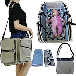 Stylish Diaper Bag Set/Converts to Travel Bassinet/Baby Changing Bags   Includes 2 Sheets & Additional Bag for Added Storage   Best Nappy Bags for Boys or Girls, from Awe Delight