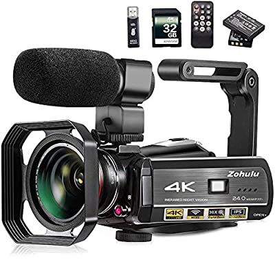 Video Camera, Zohulu 4K Camcorder WiFi Ultra HD Vlogging Camera for YouTube, 3.1'' IPS Screen 30X Digital Zoom Night Vision Video Camera with Microphone, Wide Lens, 32GB Card, 2 Batteries by ZOHULU