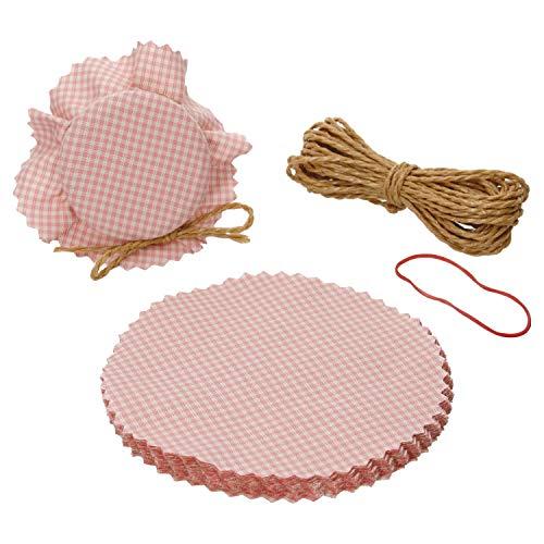 MamboCat 20er Set Stoffdeckchen rosa kariert Ø 15 cm + 1 Fixiergummi + 8 m Schnur I passend für Einmachgläser max. Ø 7,5 cm I Geschenkverpackung I Marmeladendeckchen