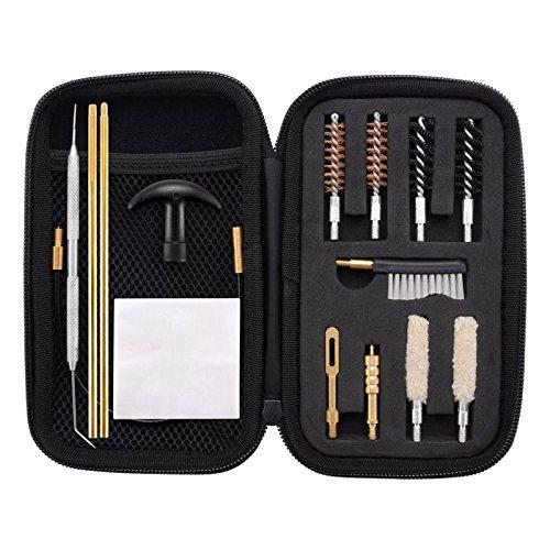 Custodia Compatto con Zip: Mantiene tutto bene organizzato; Contiene tutti gli strumenti necessari per la pulizia; Dimensione di custodia: 3,5*6,3 pollici; 15 pezzi di sistema di manutenzione per pistola in una borsa organizzata con zip Forniture per...