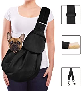 Lukovee Pet Sling, Hand Free Dog Sling Carrier Adjustable Padded Strap Tote Bag Breathable Cotton Shoulder Bag Front Pocke...
