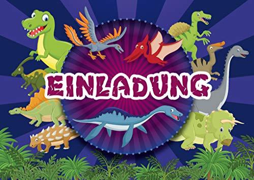 12 Dinosaurier-Einladungen zum Kindergeburtstag für Mädchen und Jungen: 12-er Set Einladungskarten zum Kinder-Geburtstag oder ins Museum (11075)