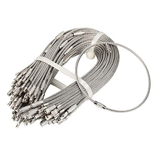 bayite 100本パック ステンレススチール ワイヤーキーチェーンケーブル キーリング 高耐久 荷物タグ ループ タグキーパー 2mm ツイストバレル (ケーブル長さ:10インチ)