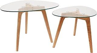 THE HOME DECO FACTORY HD3212 Tables Gigognes Verre Trempe Transparent Resistant Galet Bois Deco Moderne Salon, 60 x 45 x 4...