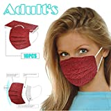 LINOJIN 10Pcs Rose Embossing Printed 3Ply Disposable Face, Facial Cover Ear Loop, Breathable Blocking Air Pollution Anti-Dust Non-Woven Mouth Cover Face Masks, Mouth Protector Prevent Sneeze Droplets