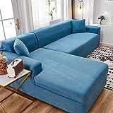 XFBN Juegos de sofás,Forro Polar Blanco Funda Cubre Sofá Tela Elasticidad Fundas Decorativas Se Puede Utilizar como Protector de Sala de Estar Libre de Manchas 1 Pieza(Size:4 Seater,Color:F)