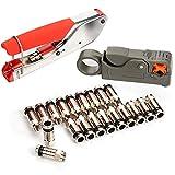 kit de Herramientas de Compresión Coaxial, 20 Piezas Conector Tipo F,...