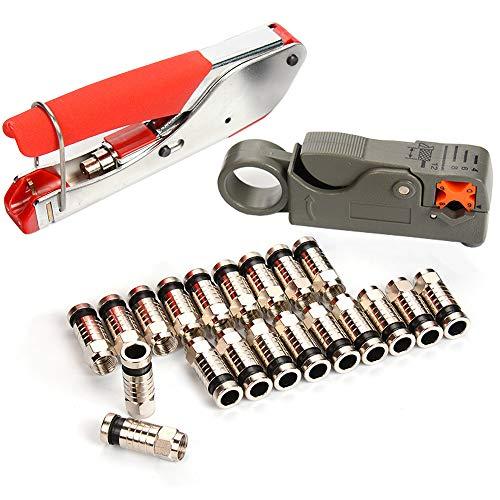 kit de Herramientas de Compresión Coaxial, 20 Piezas Conector Tipo F, Engarzadora de Cable Coaxial, Pelacables Rotatorio para Cable Coaxial RG58 RG59 RG6 RG-62
