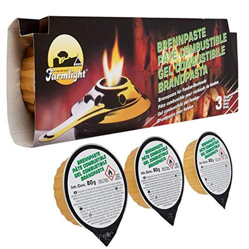 Schonhuber FARMLIGHT Gel Pasta combustibile 3x80gr per fondute e Griglie fornello bruciatore, Green