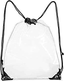 Hamkaw Clear Drawstring Backpack, Premium PVC Transparent Waterproof Shoulder Bags Unisex Clear Cinch Bags for Work Sports Gym Stadium Concert Events